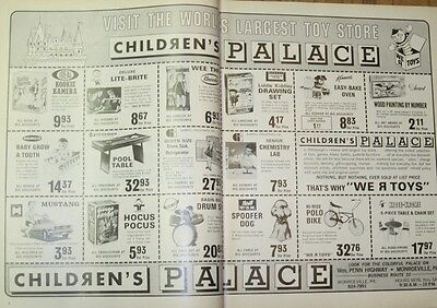Vintage Ad 1968 Children's Palace Toy Store Print Art 2 pg