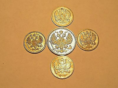 Russia Imperial Silver Coin Lot 5 coins