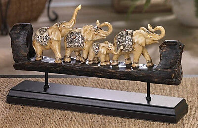 Elephant Family w/Baby Carved Sculpture Figurine Statue Tabletop Polystone Decor