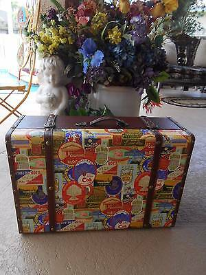 "SUITCASE decorative storage covered wood trunk hotel advertising 23.5""x 16""x 9"""