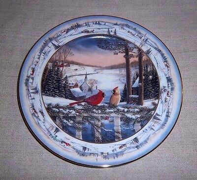 1993 Evening In Pinegrove By Sam Timm Bradford Plate Cardinal Birds - No Reserve