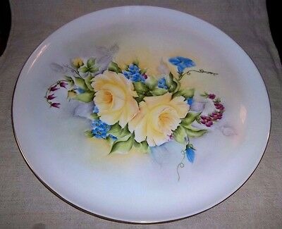 "Large Vintage P T Tirschenreuth Bavaria Germany Yellow Roses 13 1/4 "" Platter NR"