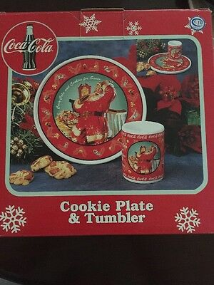 Coca Cola Christmas Cookie Plate And Tumbler Brand New
