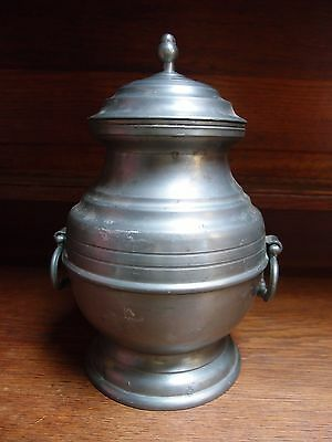 LARGE FRENCH PEWTER BAULSTER SHAPED URN WITH LID and SIDE HANDLES