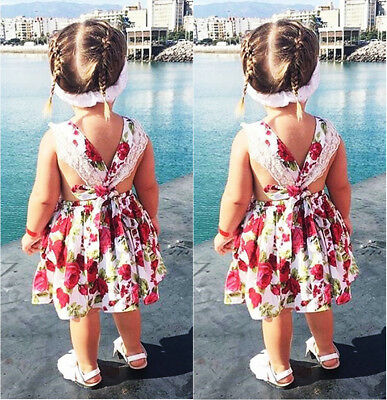 New Toddler Baby Kids Girls Lace Backless Summer Party Dress Sundress  5-6 Years