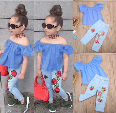 Kid Baby Girl Off Shoulder Shirt T-shirt Tops+Pants Jeans Clothes 2-3Year YY