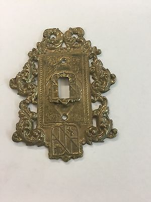 Vintage Cast Brass Ornamental Shield Switch Plate Cover   2417