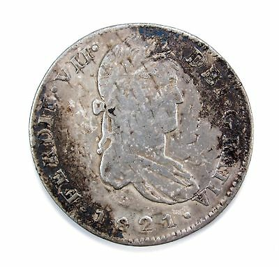 1821 Mexico 8 Reales MO TH With Light Blemishes & Lightly Bent #111943