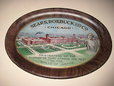Early 1900s Sears Roebuck and Co. Chicago Tin Litho Tip Tray Original NICE nMINT