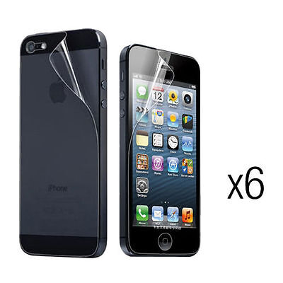 6X Clear Crystal Soft Front+Back Screen Protector Cover Film for iPhone 5/5S