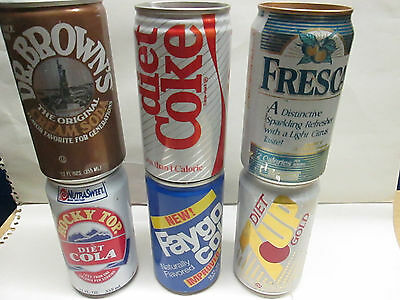 Vintage 6 Can Lot Aluminum & steel soda pop can