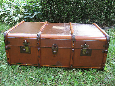 Antique Bentwood Flat Top Slat Steamer Trunk Stage Coach Chest Coffee Table 1900