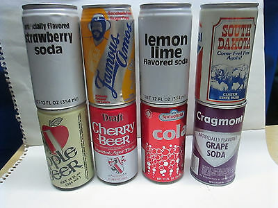 Vintage 8 Can Lot Aluminum & steel soda pop can