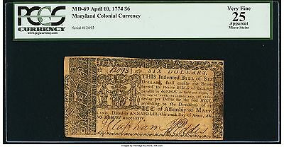 Maryland Colonial Note April 10, 1774 $6 Graded By PCGS Apparent Very Fine 25.