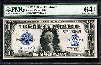 "Fr.239 1923 $1 SILVER CERTIFICATE  ""WOODS TATE"" + PMG 64EPQ CHOICE UNCIRCULATED"