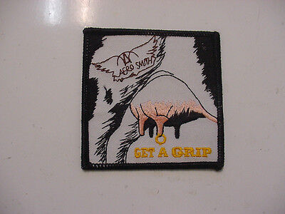 "Vintage Aerosmith  Embroidered 90's Rock-Iron On Patch- 3""x3"" Get A Grip"