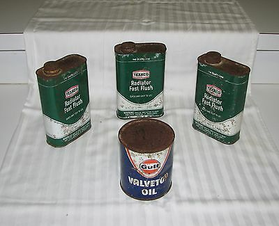 Vintage GULF OIL & TEXACO Radiator Fast Flush Cans, Unopened GULF OIL CAN