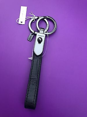 COACH 2 in1 BLUE EXOTIC LEATHER Valet Loop Key Chain Ring FOB 65161 NEW