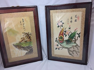 Antique Chinese watercolor Painting Tiger Bird Image Made With Rice Signed