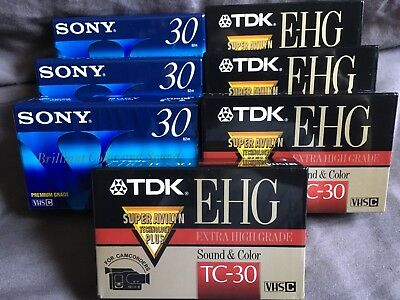 Lot of 7 Mixed TDK Extra High Grade And Sony VHS-C Video Cassette Tapes NEW
