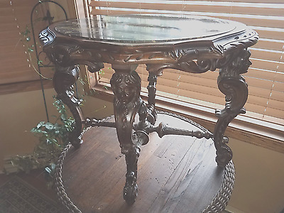 Antique Vintage Victorian Black Vein Marble Table Carved Wood Figural Bust