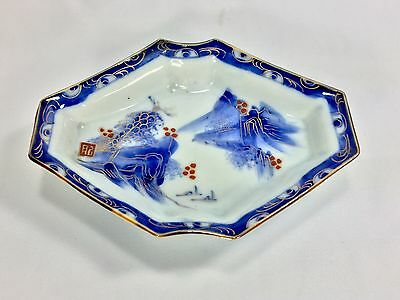 Signed Chinese Antique Hand Painted Blue White Porcelain Fruit Plate w/ Gold