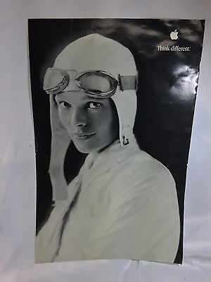 "AMELIA EARHART APPLE poster THINK DIFFERENT 17"" X 11"" STEVE JOBS Good Condition"