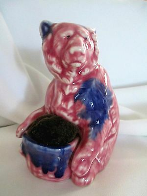 Vintage PIN CUSHION - Japan - WILD BEAR pink & blue glazed Unique!