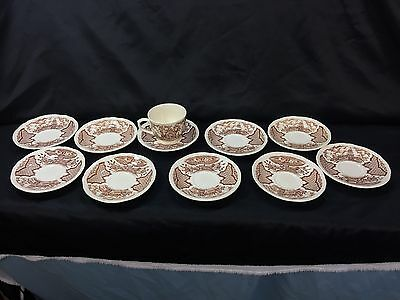 Alfred Meakin, Fair Winds, Brown, set of 1 cups / 10 saucers Sailors Fairwell