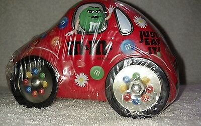 M&M's Red Vintage Collectible Volkswagen Bug Tin With Turning Wheels