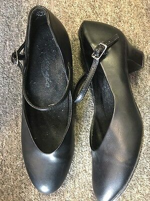 Capezio Women's Manhattan Character Black Dance Shoes Leather Sole Size 8.5