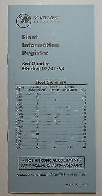 Northwest Orient Airlines 1998 Fleet Information - Roster Registrations  -  NWA