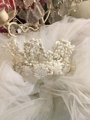 Vintage Wedding Veil Headpiece PRETTY TULLE CROWN TIARA BEADED MILLINERY WHITE