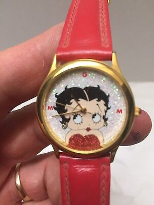 Vintage MGM Betty Boop WristWatch Red Leather Band Nice!*****