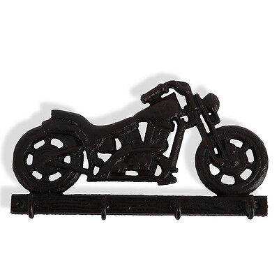 Cast Iron Motorbike Hooks Hanger |  Hook Key Holder 4 Hooks Fathers Day | Dad