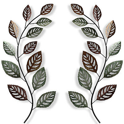 2 Leaf Branches Metal Wall Art 98cm | Big Branches Hanging Sculpture Garden Art