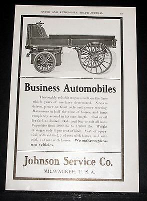 1904 Old Magazine Print Ad, Johnson Business Automobiles, Reliable Steam Wagons!