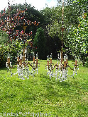 Pretty pair of vintage French 5arm bronze chandeliers(46579)