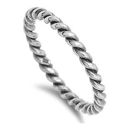 Twisted Rope Ring 925 Solid STERLING SILVER Ring (Not Plated)  Size 5 6 7 8 9 10