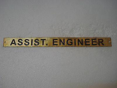 ASSIST. ENGINEER – Marine BRASS Door Sign -  Boat/Nautical - 12 x 1 Inches (14)