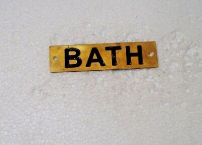 BATH – Marine BRASS Door Sign -  Boat/Nautical - 4 x 1 Inches (18)