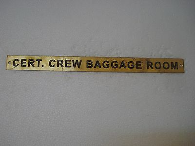 CERT. CREW BAGGAGE ROOM – Marine BRASS Door Sign - 12 x 1 Inches (59)