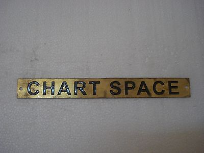 CHART SPACE – Marine BRASS Door Sign -  Boat/Nautical - 9 x 1 Inches (122)