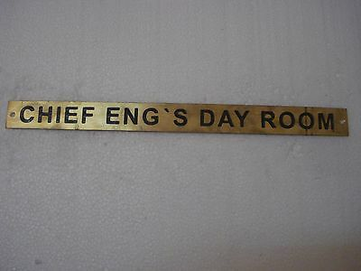 CHIEF ENG'S DAY ROOM – Marine BRASS Door Sign - 12 x 1 Inches (125)