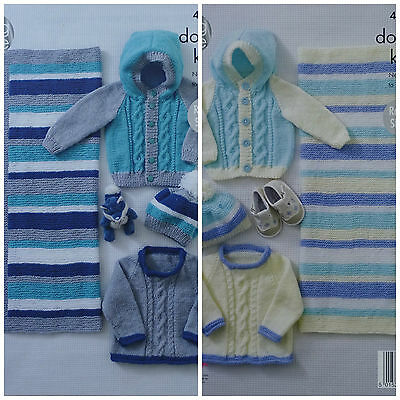 KNITTING PATTERN Baby Cable Jumper, Hoodie Jacket Blanket& Hat DK King Cole 4889