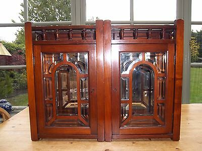 Antique mahogany wooden wall cupboard, 2 glass panelled doors