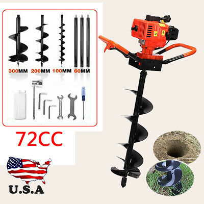 "72cc Power Engine 4HP Gas Powered One Man Post Hole Digger 4""+8""+12"" Auger Bits"