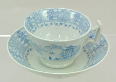 Child's Teacup and Saucer Romantic Blue Staffordshire c 1840