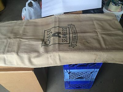 A SEAMLESS Extra Heavy cotton canvas SEED grain FEED BAG SACK ORIGINAL