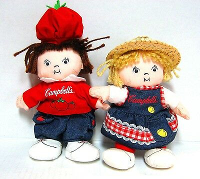 "2000 Campbell Soup Kids  8"" Girl & Boy Bean Bag Dolls"